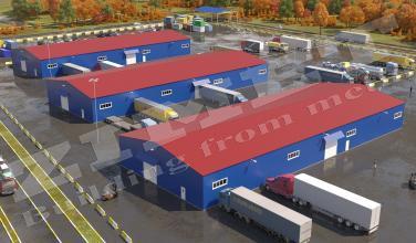 3 склада и 2 навеса КПП площадью 5100м2